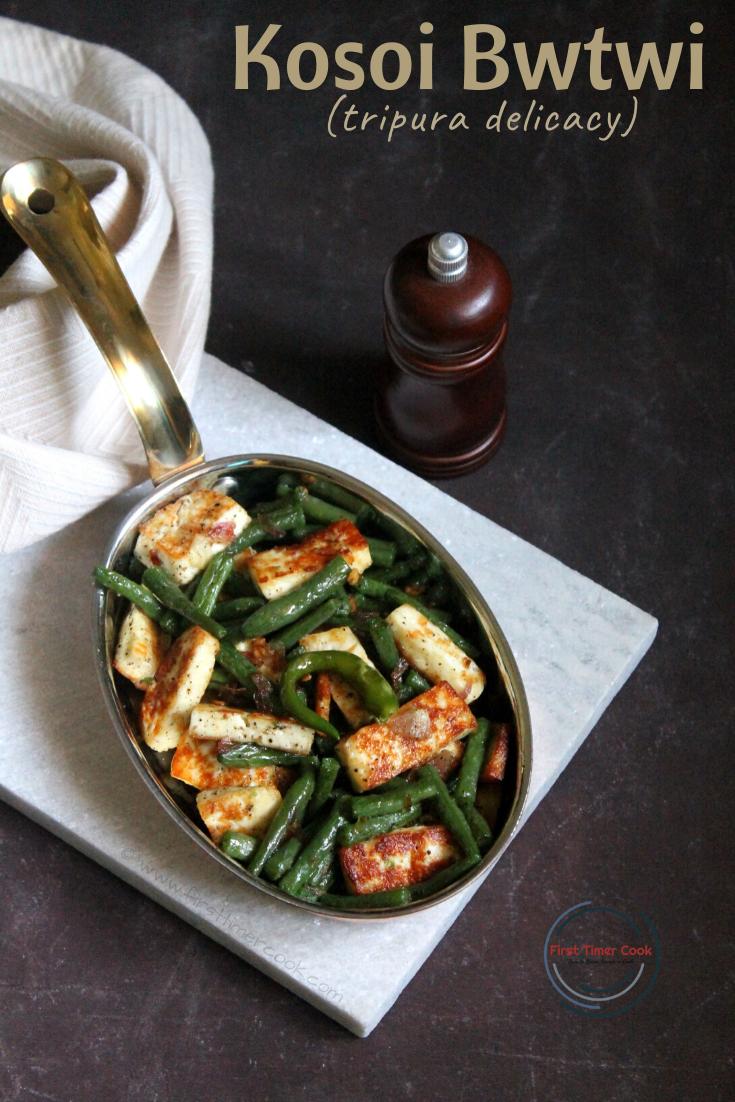 Vegan Kasoi Bwtwi / Beans & Tofu stir fry from Tripura cuisine
