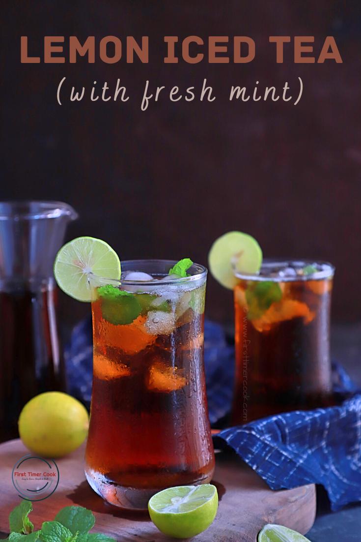 Lemon Iced Tea with Fresh Mint Leaves (Vegan)