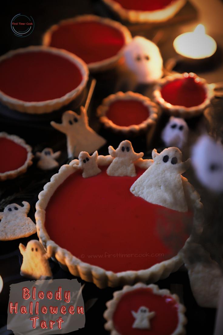 Bloody Halloween Tart using Raspberry Coulis
