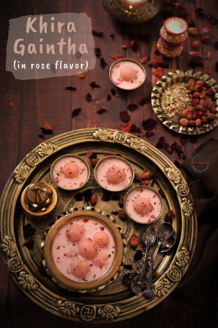 Gulabi Khira gaintha | Rice Dumplings in Rose Flavored Milk