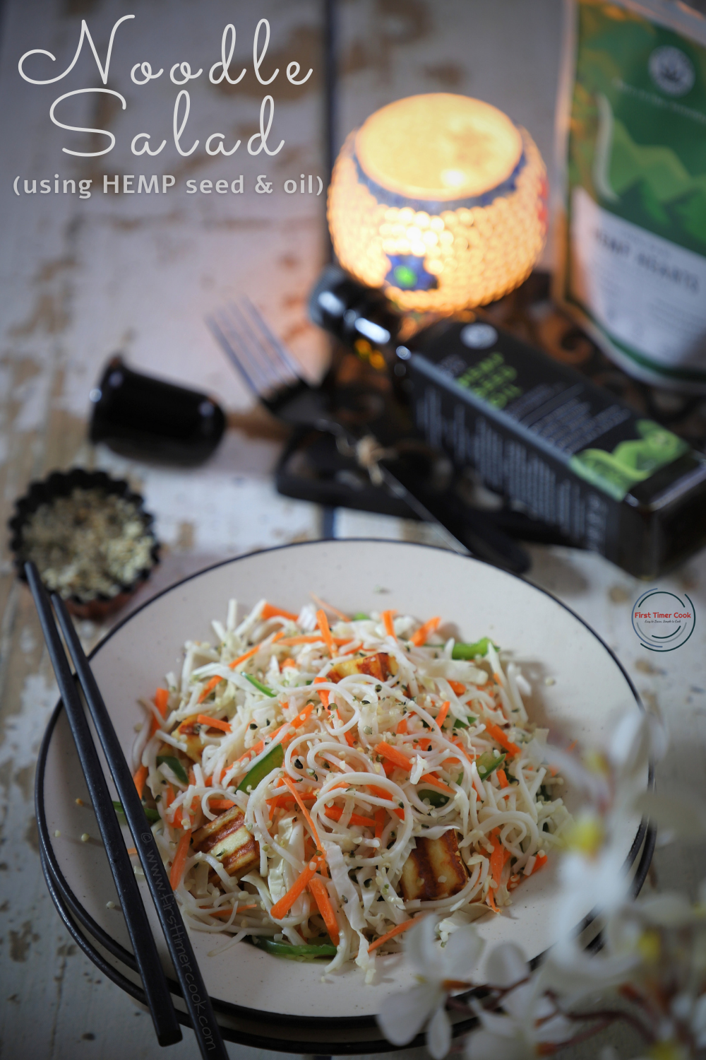Noodle Salad using Hemp Oil & Seeds