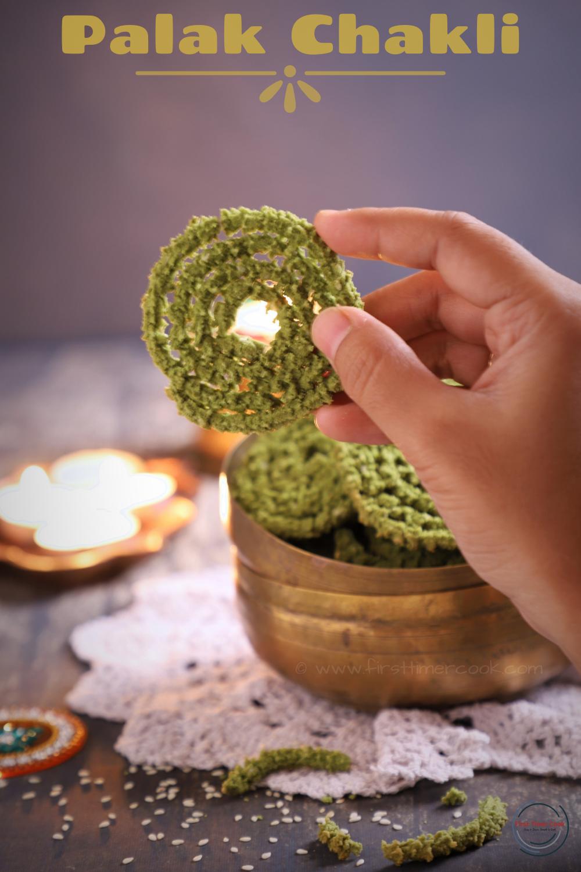Baked Spinach Murukku | Palak Chakli in oven