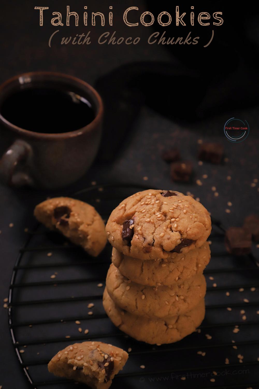 Tahini Cookies with Choco Chunks (egg free, butter free)