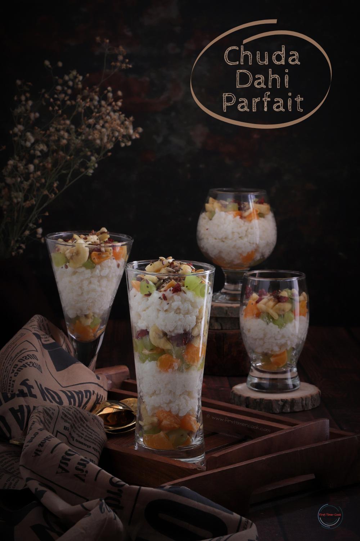 Chuda (Poha) Dahi Parfait | Flattened Rice Yogurt Parfait